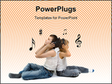 PowerPoint Template - Two young brothers sit back-to-back listening to their favorite music on headsets.