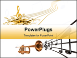 PowerPoint Template - Music notes and coronet notes