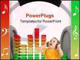 PowerPoint Template - image of Graphic Equalizer and head phones music concept