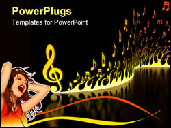 PowerPoint Template - Flame of musical notes on the reflective floor.