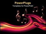 PowerPoint Template - Musical background with an orange wave and music notes
