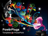 PowerPoint Template - music vector illustration composition over a black background