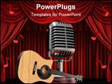 PowerPoint Template - d illustration of an acoustic guitar sitting in front of a large silver microphone on a dark red re