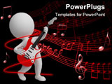 PowerPoint Template - 3d small people playing an electroguitar. 3d image. Isolated white background.