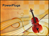 PowerPoint Template - Violin over an elegant warm background. Digital illustration.