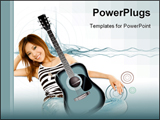 PowerPoint Template - Beautiful girl with guitar