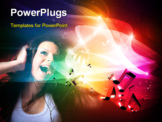 PowerPoint Template - girl enjoys music over colorful background