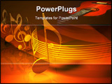 PowerPoint Template - d illustration of a series of metallic musical notes arranged along a path on a red and gold reflec