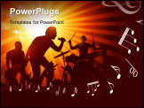 PowerPoint Template - A band playing to a crowd of fans...vector illustration.