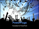 PowerPoint Template - People at the concert - heads and hands on blue background