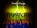 PowerPoint Template - many happy people are dancing on the stage