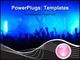 PowerPoint Template - Crowd raising hands at a pop concert; silhouette of audience blue lights in the background
