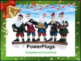 PowerPoint Template - Five elves playing their music instruments at Christmas