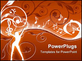 PowerPoint Template - Music background with the notes and the flowers. vector illustration
