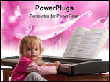 PowerPoint Template - A young girl in a dress sits at an electronic piano keyboard.