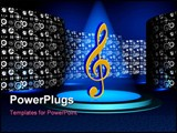PowerPoint Template - 3d computer generated reflective spotlights in music logo