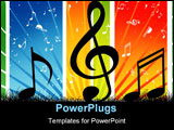 PowerPoint Template - A Music note wave with Music theme background