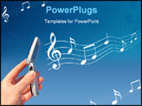 PowerPoint Template - apply Cellphone Ring-tones. Men hand keeping mobile phone which play melody