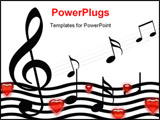 PowerPoint Template - Music Background With Hearts: the love concept