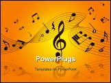 PowerPoint Template - Vector musical notes staff background for design use