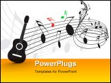 PowerPoint Template - Music notes with guitar player for design use, vector illustration