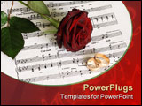 PowerPoint Template - On a photo Red rose on music sheet
