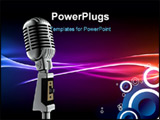 PowerPoint Template - 3d illustration of music equipment silver microphone
