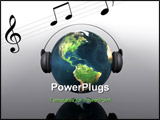 PowerPoint Template - music planet earth with headphones in 3d