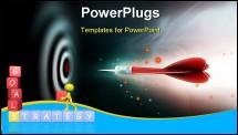 PowerPoint Template - shot of darts in bulls eye on dartboard on a dark background