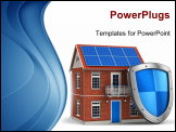 PowerPoint Template - residential house covered by protection shield isolated on white background