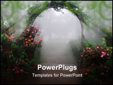 PowerPoint Template - A foggy entrance filled with flowers and rays of light