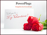 PowerPoint Template - three roses with blank paper card on white background