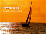PowerPoint Template - boat in a sea at evening