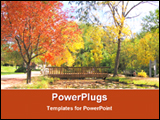 PowerPoint Template - a wooden bridge in a beautiful garden