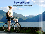 PowerPoint Template - a woman traveling with by-cycle
