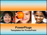 PowerPoint Template - A collage of girls faces smiling.