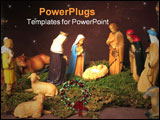 PowerPoint Template - nativity scene in manger with three wise men