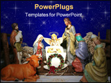 PowerPoint Template - Nativity scene with blue starry sky background