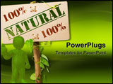 PowerPoint Template - 00 percent natural sign message on a wooden panel and green plant - image is isolated on a white ba