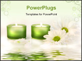 PowerPoint Template - green candles and daisies near water reflection on dreamy white background