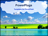 PowerPoint Template - field on a background of the blue sky