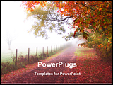 PowerPoint Template - foggy road with red leafs on it