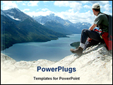 PowerPoint Template - man sitting on top of mountain
