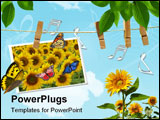PowerPoint Template - sunflower crop in the plains of argentina