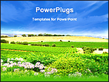 PowerPoint Template - a view of a green pretty vineyard