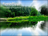 PowerPoint Template - River Landscape with sky reflection in water