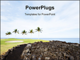 PowerPoint Template - Green Hawaiian Golf Course on Lava Ocean Shore of Kona Island
