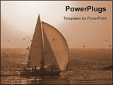 PowerPoint Template -  sailboat flying a spinnaker into the harbor as the sun sets in the background in southern Californ
