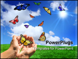 PowerPoint Template - Happy Bright Landscape WIth Butterflies Being Released