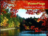 PowerPoint Template - walden pond framed by and reflecting autumn leaves